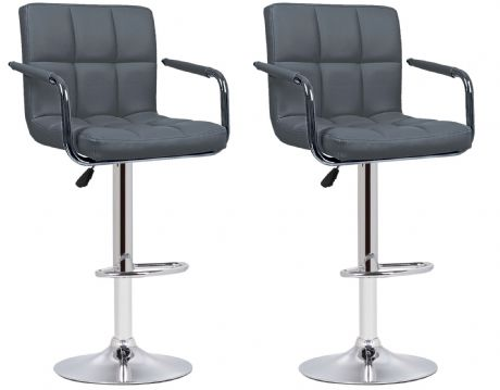 Pair of 2 Milan Grey Faux Leather Padded Seat Bar Stools With Arms